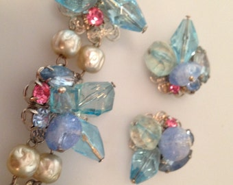 1950s Vintage CLUSTER Bracelet Matching CLIP ON Earrings Beaded Set Old Store Stock Beads Pearls Demi Parure Deadstock
