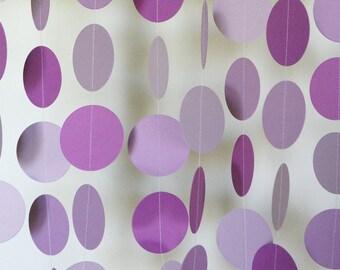 Lavender / Lilac Circle Garland, Baby Shower Decoration, Lavender Wedding Decor, Purple Paper Garland, Lilac Wedding, 10 feet long