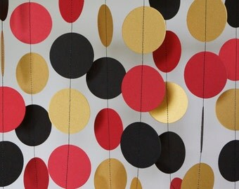 Red, Gold and Black Paper Garland, Graduation Decoration, Military Retirement Party, Red Gold Black Circle Garland, Birthday Party, 10 ft.