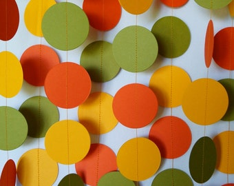 Retro Party Decor, Orange / Golden Yellow / Avocado Green Paper Garland, Party Decorations, Orange Olive Wedding, 10 ft. long