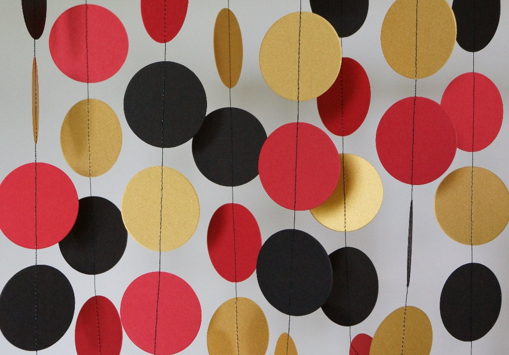 Red Gold And Black Paper Garland Graduation Decoration
