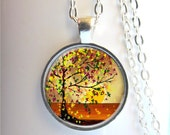 Tree Pendant, Autumn Tree Necklace, Art Pendant, Tree With Sunset, Tree Jewelry