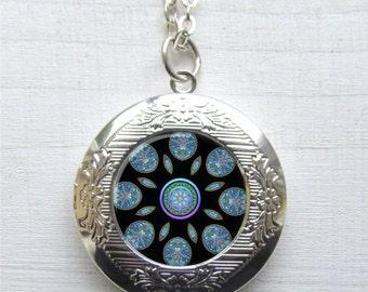 Photo Locket, Mandala Necklace, Silver Mandala Locket, Locket Necklace