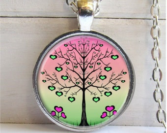 Tree Necklace, Whimsical Heart Tree Pendant, Art Pendant, Tree Jewelry