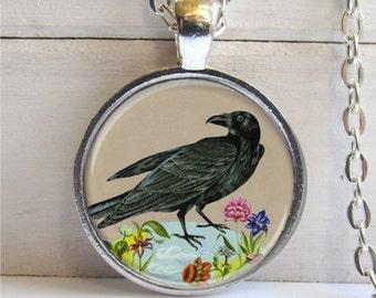 Raven Pendant, Vintage Raven Art Pendant, Raven Jewelry, Charm Necklace