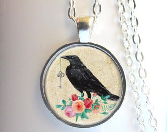 Raven Pendant, Raven With Key, Art Pendant, Raven Necklace, Crow Necklace, Bird Jewelry