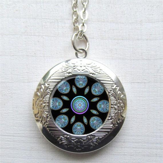 Photo Locket, Mandala Necklace, Silver Mandala Locket, Locket Necklace