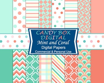 Mint Green and Coral Digital Paper - Commercial Use OK