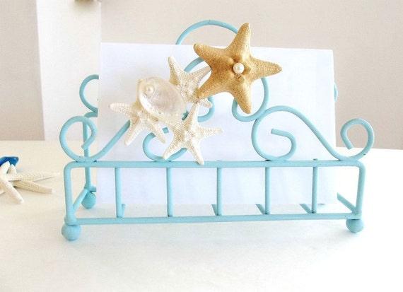 Starfish seashell letter mail holder napkin holder aqua blue - Coastal napkin holder ...
