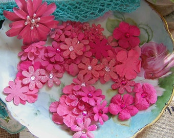 Pink Paper Flowers, Scrapbook Flowers, Paper Flowers, Flowers, Paper Crafts Flowers, Flower Embellishments, Flower Sets, Shabby Style Flower