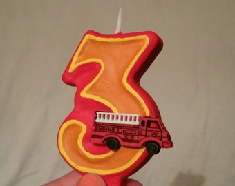 Fire Truck Birthday Candle