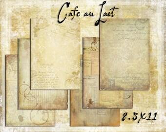 Digital Paper Pack Cafe au Lait 8.5x11  downloadable printables