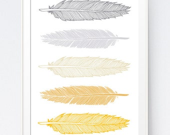 Feathers Art, Yellow and Gray Feathers Wall Art,  Mutard Gold Grey Gray Wall Art, Feathers Wall Decorations Art, Yellow and Gray Tribal