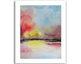 "Original Watercolor Painting Sunset Abstract Landscape Painting Original Art Watercolor painting 10""X8"" by Tatjana Ruzin Christmas Gifts"