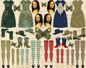 4 MONA LISA Cowgirl Paper Dolls -  INSTANT Printable Digital Sheet