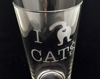 I Love Cats Etched Pint Glass Butt Booty Humor heart Shaped