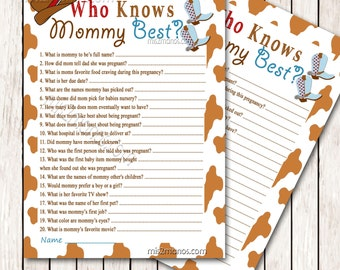 Western Baby Shower Who Knows Mommy's Best Printable Game  Instant Download