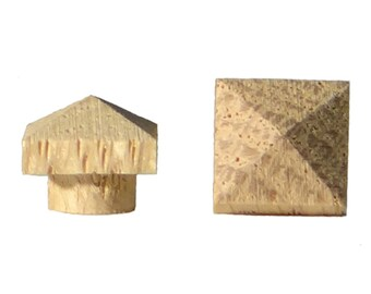 "24 pk 3/8"" Small White Oak Pyramid Top Hole Plugs"