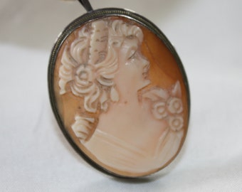 Victorian Shell Cameo Brooch Pendant 800 Silver 1930s Jewelry Vintage