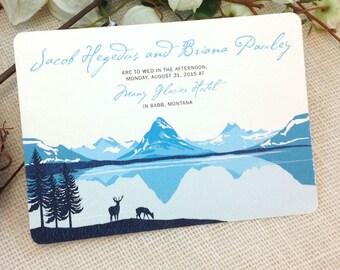 Many Glacier Valley 5x7 Wedding Invitation: Get Started Deposit or DIY Payment