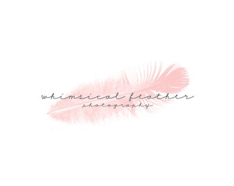 Delicate Blush Feather Logo and Watermark