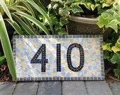 Outdoor House Numbers, Mosaic Address Sign in Gray, Yellow, Blue, White