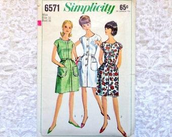 Vintage Simplicity Dress Pattern 6571 Size 16 Bust 36  1966