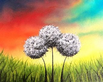 Dandelion Landscape Print, Colorful Rainbow Art, Summer Wall Art, Giclee Print of Modern Art, Contemporary Flower Art, Large Art Print 20x30