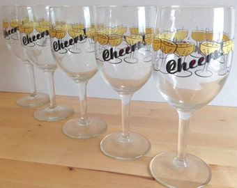 Vintage Wine Champagne Glasses - Cheers! - Happy New Year - Sold Individually