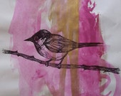 Hand Drawn British Coaltit in Black Ink Pen and Pink and Gold Ink