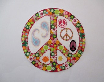 """Flower Power Iron On Peace Sign 5"""""""