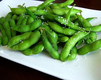 Japanese Edamame, Tankuro Black Soybeans, premium heirloom, 15 black seeds, non GMO, turn green when cooked, early harvest, delicate flavor