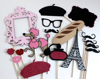 Photo Booth Props - C'est La Vie Collection - Parisian Inspired Photobooth Props