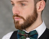 Quirky Tartan and leather Bow Tie