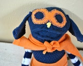 Superhero Unique Sock Animal, Quirky Softie, Hand-Stitched, Made from all Reclaimed Clothing, Puppy Stuffed Animal, Sustainable, OOAK
