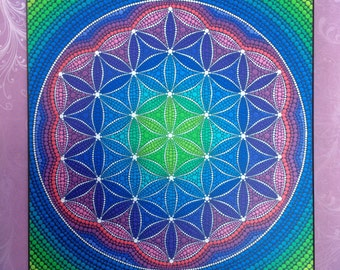 Colorful Print Laminated on woodblock- Divine Flower of Life