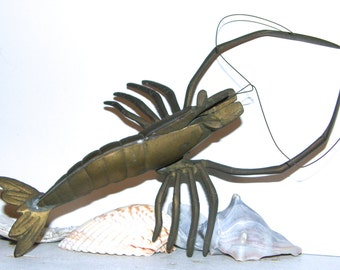 Vintage Brass Lobster Figurine, Mid-Century Brass Decor Wall Hanging
