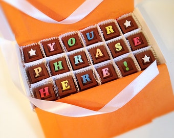 Message in Chocolate - Personalized Chocolate Squares - Unique Gift, Present