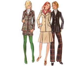 1970s Jacket Pattern Butterick 6346, Hip Length Blazer, Cuffed Shorts, A-Line Skirt, High Waist Pants, Vintage Sewing Pattern Bust 34