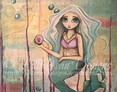 Protected Heart: mixed media square canvas white haired mermaid with heart bubble whimsy big eye canvas art LilliBean Designs FREE SHIPPING
