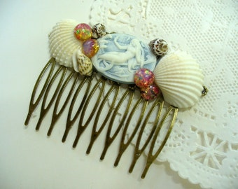 Mermaid Cameo and Opal Filigree Hair Comb, Blue Mermaid and Sea Shell, Antique Brass Comb, Beach, Summer, Hair Jewelry, Bridal hair comb