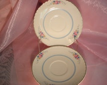 Vintage Saucers Dessert Plates Crooksville China Pink Rose with Blue Set of 2 Cottage Chic Replacement China Vintage Wedding