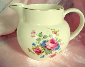 Vintage Pitcher Pink Rose E & R American Art Ware Ivory Shabby Cottage Chic