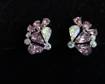 Sparkling Rhinestone Clip Earrings, Purple and AB Clear Round and Teardrop Stones