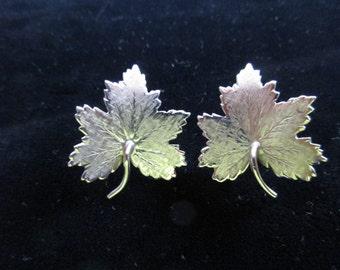 Sterling Leaf Screw On Earrings