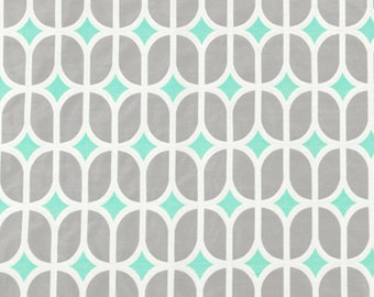 Turquoise Grey Geometric Upholstery Fabric - Modern Aqua Blue Woven Furniture Material - Turquoise Home Decor - Grey Geometric Pillow