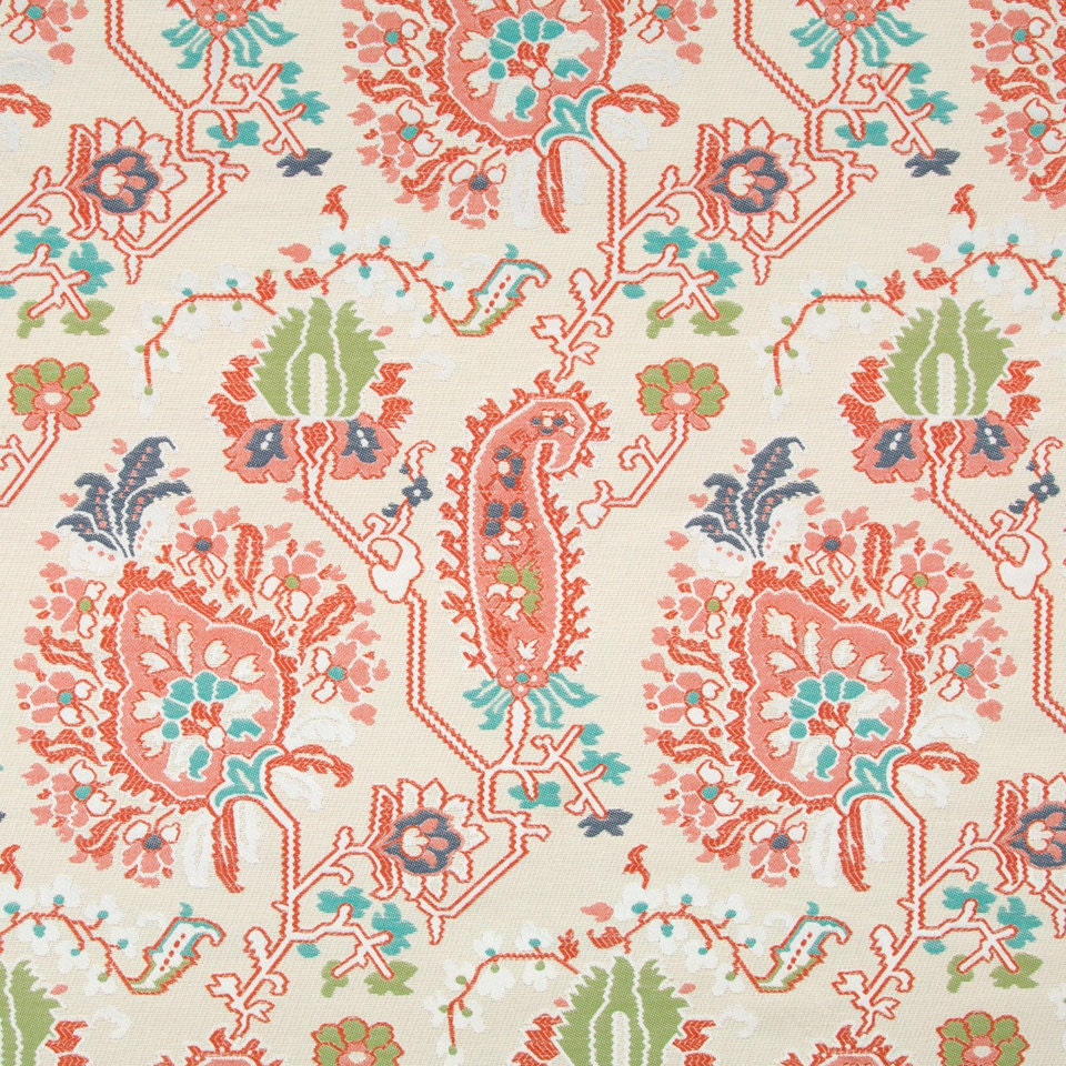 Coral upholstery fabric modern aqua orange abstract home for Modern home decor fabric