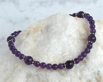 Amethyst Beaded Bead Bracelet, Numerology Bracelet, Sterling Silver Clasp; Semi-Precious Gemstone