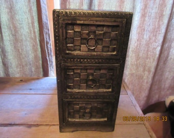 Vintage Standing Drawers Brushed Metal And Wood