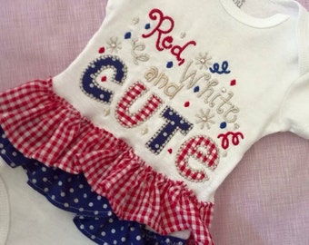 Patriotic Bodysuit with ruffles, red, white, and cute